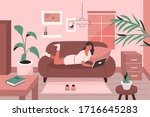 woman working remotely at home... | Shutterstock .eps vector #1716645283