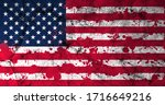 american flag with blood stains.... | Shutterstock . vector #1716649216