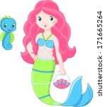 background,cartoon,character,cheerful,child,cute,fantasy,friend,girl,horse,illustration,isolated,mermaid,pet,princess