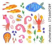 flat set hand drawn healthy...   Shutterstock .eps vector #1716669289