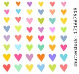 set of colorful hearts. vector... | Shutterstock .eps vector #171667919