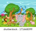 funny animal cartoon | Shutterstock .eps vector #171668399