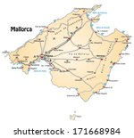 map of mallorca with highways... | Shutterstock . vector #171668984