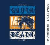miami south beach graphic... | Shutterstock .eps vector #1716719803