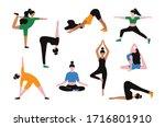female characters yoga...   Shutterstock .eps vector #1716801910