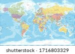 world map classic color... | Shutterstock .eps vector #1716803329