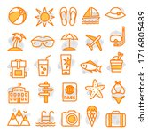 summer icons in line style on... | Shutterstock . vector #1716805489