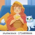 a sick cold woman f with a cup... | Shutterstock . vector #1716808666
