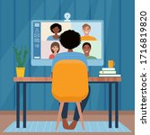 video conference with people... | Shutterstock .eps vector #1716819820