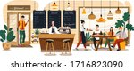 people in cozy cafe  coffee... | Shutterstock .eps vector #1716823090