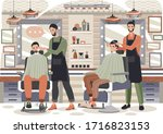 man in barber shop salon ... | Shutterstock .eps vector #1716823153