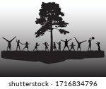 children black silhouettes in... | Shutterstock .eps vector #1716834796