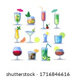 alcohol drinks flat icon kit.... | Shutterstock .eps vector #1716846616