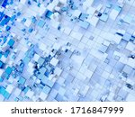3d render of abstract art of surreal hi-tech finance technology 3d background with small and big flying cubes or boxes in white matte plastic and blue glass material on white surface with lines - stock photo