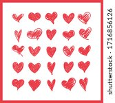 doodle hearts  hand drawn love...   Shutterstock .eps vector #1716856126