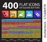 400 flat icons on square... | Shutterstock .eps vector #171686978