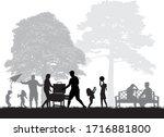 family picnic in the garden   Shutterstock .eps vector #1716881800
