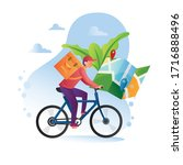 courier on bicycle with parcel...   Shutterstock .eps vector #1716888496