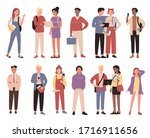 multiracial community boys ... | Shutterstock .eps vector #1716911656