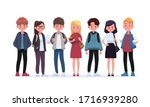 group of young students. flat...   Shutterstock .eps vector #1716939280