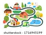 vector travel map for children  ... | Shutterstock .eps vector #1716945199
