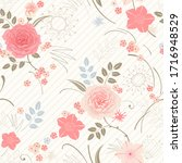 floral seamless pattern with...   Shutterstock .eps vector #1716948529