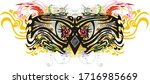 scary floral owl eyes splashes. ... | Shutterstock . vector #1716985669