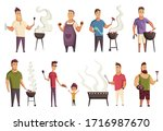 set of character bbq party....   Shutterstock .eps vector #1716987670