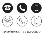 telephone icons set in flat...