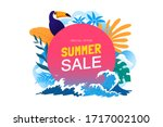 summer sale banner with... | Shutterstock .eps vector #1717002100