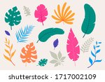 collection of colorful tropical ... | Shutterstock .eps vector #1717002109