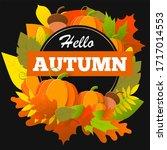 hello autumn banner with...   Shutterstock . vector #1717014553