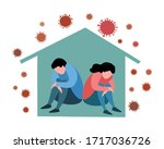 depressed man and woman in... | Shutterstock .eps vector #1717036726