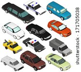 set of various isolated 3d cars  | Shutterstock . vector #171705038