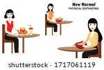 new normal concept and physical ...   Shutterstock .eps vector #1717061119