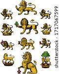 heraldry lions hand drawn...   Shutterstock .eps vector #1717067599