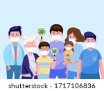 the family wearing  protective... | Shutterstock .eps vector #1717106836