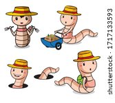 high quality detailed earthworm ...   Shutterstock .eps vector #1717133593