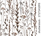 seamless pattern with meadow... | Shutterstock . vector #1717141093