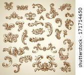 Set of vector vintage baroque engraving floral scroll filigree design