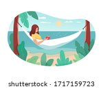 woman tourist character reading ... | Shutterstock .eps vector #1717159723