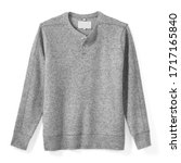 Small photo of Grey Wool & Nylon Blend Men's Sweater on Button Neckline Isolated on White. Stylish Warm Pullover with Ribbed Knit Cuffs and Collar Front View. Best Modern Classic Sweatshirt Jersey Apparel for Mens