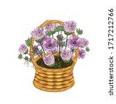 Cosmos Bouquet In Basket Wicke...