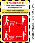 social distancing sign   please ... | Shutterstock .eps vector #1717257193