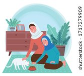 illustration of a muslim mother ...   Shutterstock .eps vector #1717279909