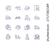 delivery line icon set. courier ... | Shutterstock . vector #1717282189