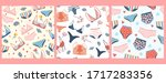 set of seamless patterns with... | Shutterstock .eps vector #1717283356