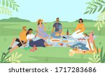 smiling friends relaxing at a... | Shutterstock .eps vector #1717283686