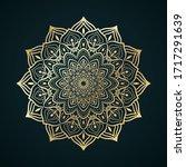 golden contour mandala ornament.... | Shutterstock .eps vector #1717291639