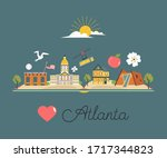 tourist poster with traditional ... | Shutterstock .eps vector #1717344823